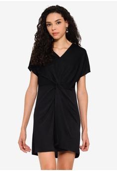 d70465cc2901c5 Boohoo black Twist Knot Front Detail Bodycon Dress 19350AA4922A5EGS 1
