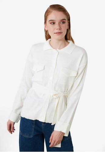 Trendyol white Pocket Sashed Button Cardigan 38E10AA681B99EGS_1