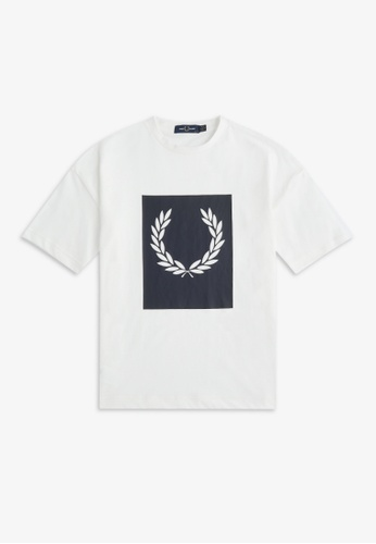 Fred Perry white G9135 - Block Laurel Wreath T-Shirt - (Snow White) B7FC6AA1F5A02FGS_1