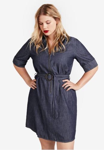 9870ff64f3 Violeta by MANGO blue Plus Size Zip Denim Dress 40258AA7D9EF5EGS 1