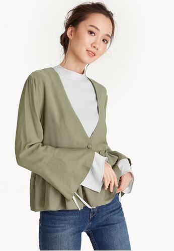 Pomelo green Ruffled Single Button Jacket - Green 7F4E1AA5F9576DGS_1
