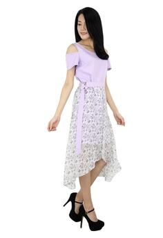 614dfb5ce9a MOONRIVER purple Elle Floral Overlay Dress 5C6BCAAD386942GS 1