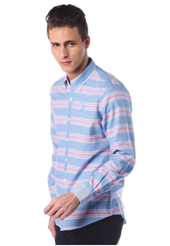 POLO HAUS blue Polo Haus - Long Sleeve Shirt (Blue Red) PO783AA01JNEMY_1