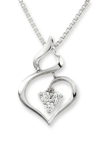 """MaBelle silver 18K White Gold Gourd-Designed Diamond Pendant With Sterling Silver Chain (16"""") MA584AC94IHTHK_1"""