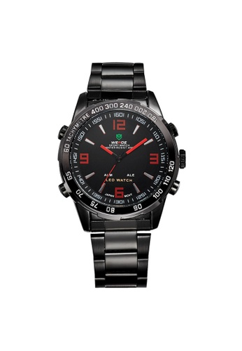 Weide red Weide WH1009 Dual Time LED Stainless Steel Watch (Red) WE079AC27RIMMY_1