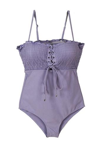 Halo 紫色 紫色修身連體泳衣 4A7F8USE6781B9GS_1