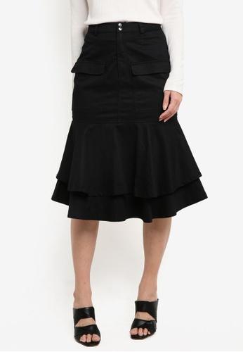 ZALORA black Fluted Hem Skirt B7291AAAAC1097GS_1