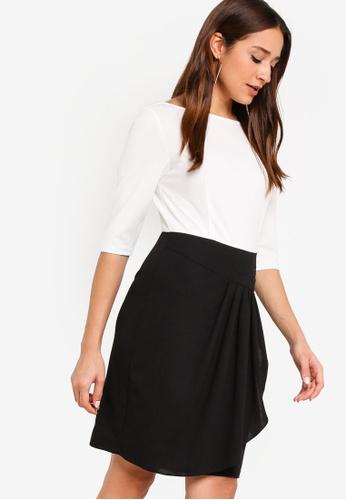 ZALORA white and multi Colourblock Pleated Draped Dress A8686AAF177794GS_1