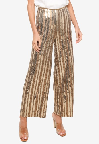 H&M gold Wide Sequined Trousers D166AAA873741EGS_1