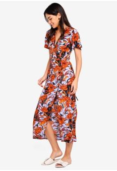 cd594e6ce917 Miss Selfridge blue Floral Button Wrap Midi Dress 31140AAC417499GS 1