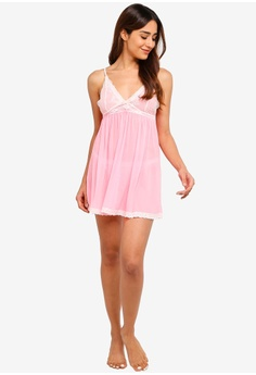 376323826f6ca 14% OFF Impression Meshnet Nightwear Slip Dress With Thong RM 224.00 NOW RM  192.00 Sizes M L