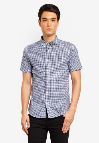 Burton Menswear London 海軍藍色 Navy Long Sleeve Gingham Oxford Shirt 741A0AAAEE8B58GS_1