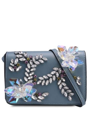 TOPSHOP blue Frozen Embellished Crossbody Bag 7F038ACDEFA772GS_1