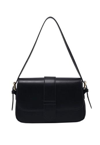 Lara black Women's Retro Plain Leather Flap Zipper Cross-body Bag - Black D514FAC7D301CAGS_1