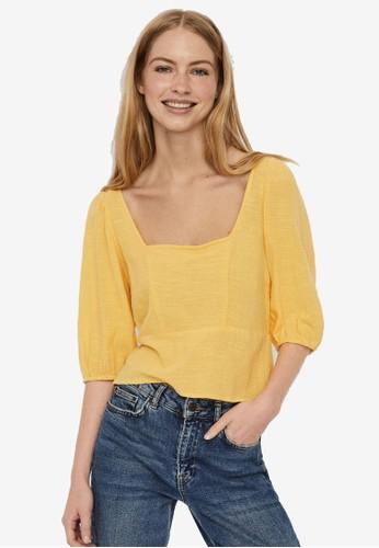 Vero Moda yellow Crossback Puff Sleeves Top 6CE5EAAA107621GS_1