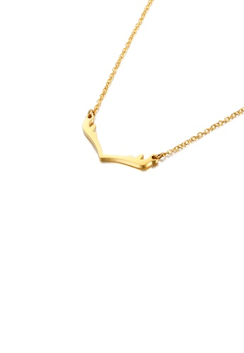 Glamorousky silver Fashion Simple Plated Gold Antlers 316L Stainless Steel Necklace 0658DACB382A88GS_1