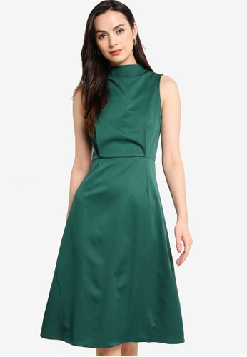 ZALORA WORK green High Neck Knee Length Dress 87AA3AA30FDBA9GS_1