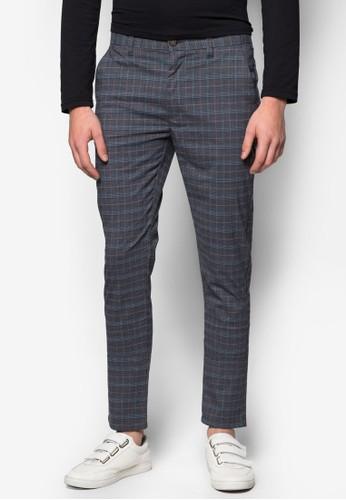 格紋彈性窄管長褲,zalora 包包評價 服飾, 服飾