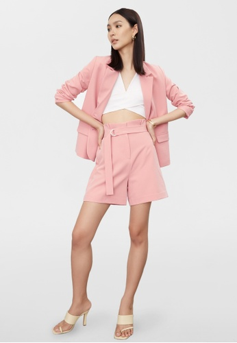 Pomelo pink Paperbag Belted High Waist Shorts - Pink 8EC8FAA935507AGS_1