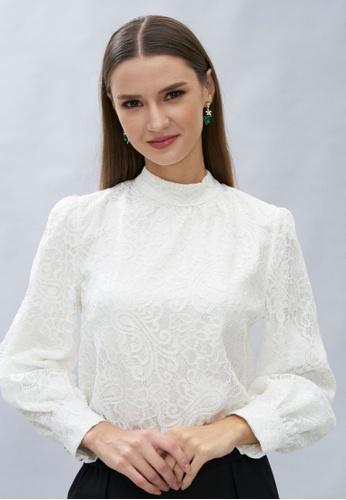 Loveaisyah white Victoria Long Sleeves White Lace Top 8532FAA22DE8FFGS_1