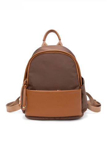 HAPPY FRIDAYS brown Stylish Nylon Oxford Patch Faux Leather Backpack JW CL-C5067 B3BD5AC5678359GS_1