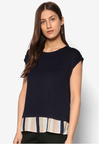 條紋拼接層次短袖esprit分店上衣, 服飾, 服飾