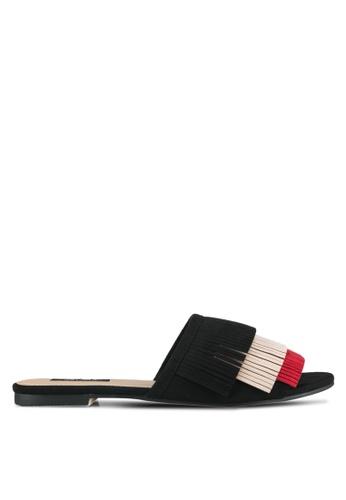 ZALORA black Tassel Flat Sandals 15487SHBA96548GS_1