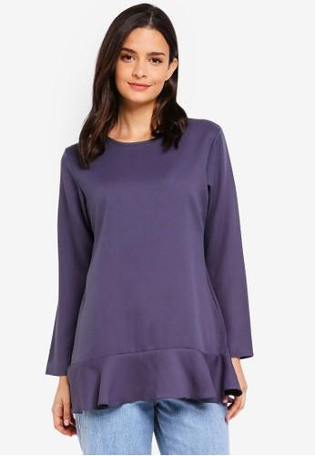 Aqeela Muslimah Wear purple Ruffled Back Button Top 90B1BAAB60DAC3GS_1