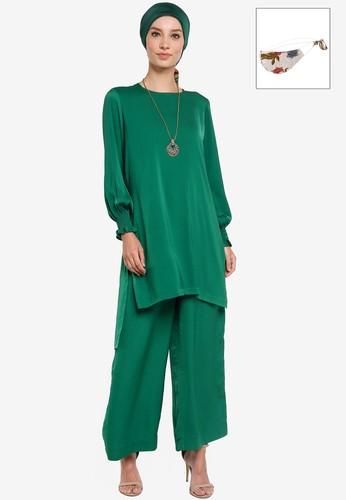 Yans Creation green Diya Tunic Set With Free Selendang And Reusable Mask 0E96CAA991A745GS_1
