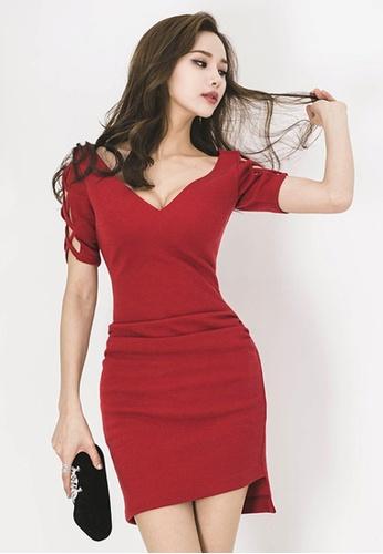Sunnydaysweety red V-neck One Piece Dress 24BB0AA2B3B30FGS_1