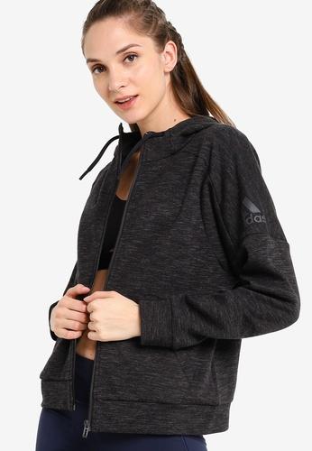 ADIDAS black id melange hoodie 9590CAA1BAF258GS_1
