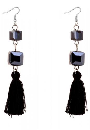 LOVENGIFTS black Square Duo Rhinestone Tassel Drop Earrings (Black) 055F8AC4F8E679GS_1