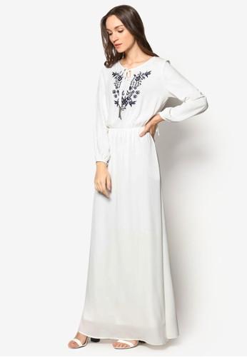 繡花腰飾長洋裝, 服esprit專櫃飾, 洋裝