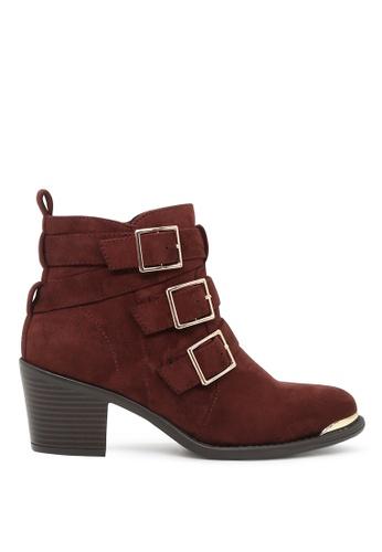 London Rag 紅色 London Rag女士红锈五金扣高跟短靴 SH1604 LO507SH0A6DITW_1