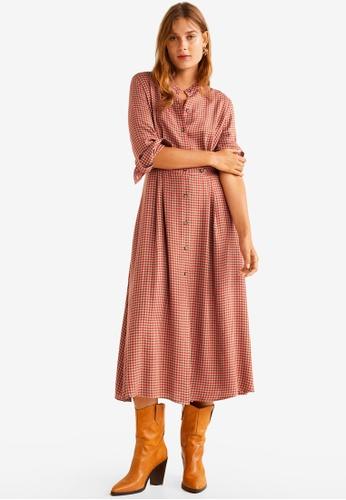 Mango beige Checkered Linen Dress 3CDEDAAD1B60D9GS_1