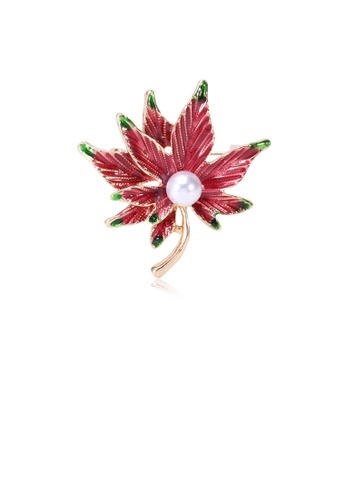 Glamorousky white Fashion and Elegant Plated Gold Red Maple Leaf Imitation Pearl Brooch D1A23AC888575AGS_1