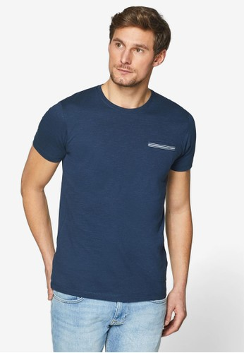 ESPRIT navy Slub Jersey T-Shirt 95B77AAF04BF5FGS_1