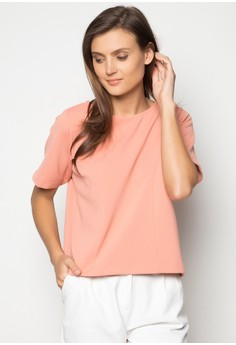 Short Sleeves Textured Boxy Panelled Tee