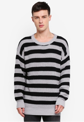 Cotton On 黑色 and 灰色 Oversized Crew Knitwear 8BADAAADEFDC52GS_1