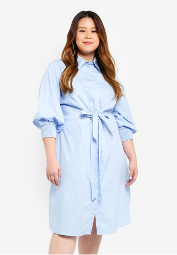 LOST INK PLUS blue Shirt Dress With Tie Front AF80BAA0474D59GS_1