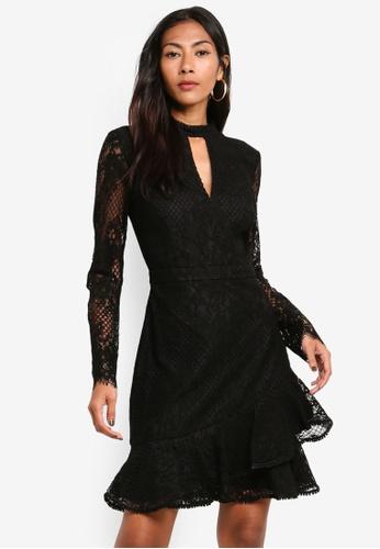 Forever New black Angelina Long Sleeve Lace Mini Dress EA183AA391F188GS_1