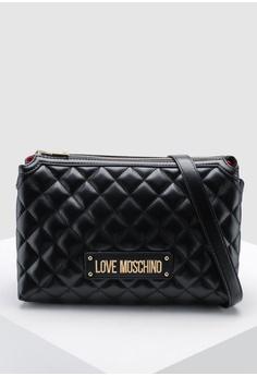 43251fb83e63 Love Moschino black Quilted Zip Crossbody Bag 98644ACC1E8EB5GS_1