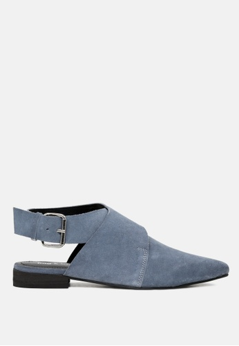 RAG&CO blue Leather Mules with Buckle Closure BF387SHF846909GS_1
