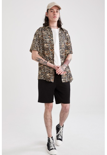 DeFacto black Regular Fit Sweatshirt Bermuda Shorts 91E13AA6D719BDGS_1