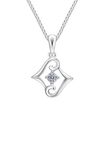 MaBelle silver Leo Diamond 18K/750 White Gold Diamond Pendant With Free Silver Necklace 32EBEACB98281CGS_1