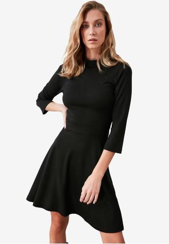 Trendyol black High Neck Skater Dress 6BFBDAA5627B2EGS_1