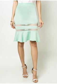 Emely Mesh Hem Flouncy Skirt