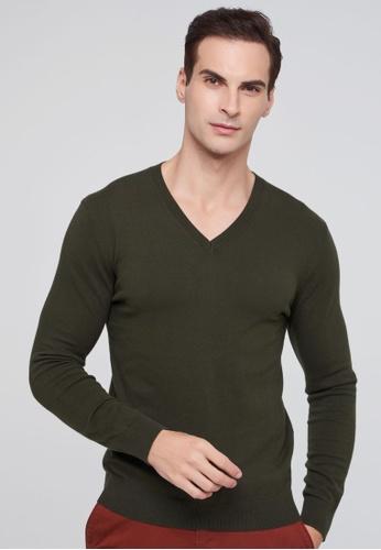 Sisley green V-neck Knitted Sweater 636E7AAABB7521GS_1