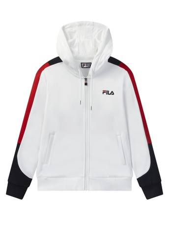 FILA white FILA Logo Side Taped Hooded Jacket C619CAAA7182C6GS_1