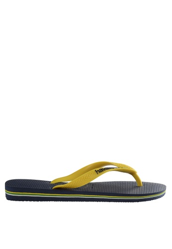 Havaianas yellow and navy Brasil Logo Flip Flops F3C7ASHCA112CAGS_1